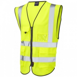 Leo Workwear W11-Y Lynton Hi Vis Vest Superior Yellow