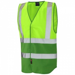 Leo Workwear W05-LM/GN Pilton Hi Viz Two Tone Waistcoat Lime / Emerald Green