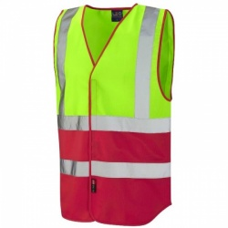 Leo Workwear W05-LM/RD Pilton Hi Viz Two Tone Waistcoat Lime / Red