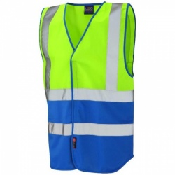 Leo Workwear W05-LM-RO Pilton Hi Viz Two Tone Waistcoat Lime / Royal Blue