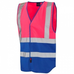 Leo Workwear W05-PK/RO Pilton Hi Viz Two Tone Waistcoat Pink / Royal Blue