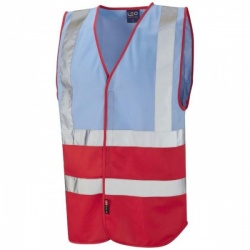 Leo Workwear W05-SK/RD Pilton Hi Viz Two Tone Waistcoat Sky Blue / Red