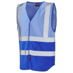 Leo Workwear W05-SK/RO Pilton Hi Vis Two Tone Waistcoat Sky Blue / Royal Blue