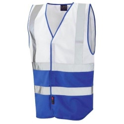 Leo Workwear W05-WH/RO Pilton Hi Viz Two Tone Waistcoat White / Royal Blue
