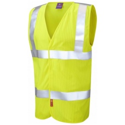 Leo Workwear W19-Y Clifton ISO 20471 Class 2 LFS Anti-Static Waistcoat Yellow