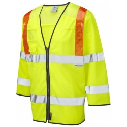 Leo Workwear S14-Y Hi Vis Class 3 Taddiport 3/4 Sleeved Ventilated Waistcoat Yellow / Orange Braces