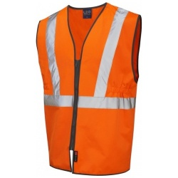 Leo Workwear W16-O Copplestone Railway Plus Vest Zipped Orange