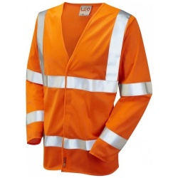 Leo Workwear S11-O Parkham Hi Vis Limited Flame Spread Long Sleeve Waistcoat Orange