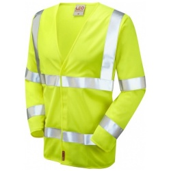 Leo Workwear S11-Y Parkham Hi Vis Limited Flame Spread Long Sleeve Waistcoat Yellow
