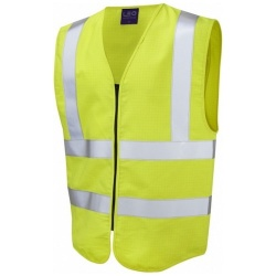 Leo Workwear W10-Y Harracott Hi Vis Fire Retardant Anti Static Waistcoat Yellow