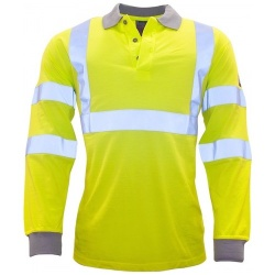 Portwest FR77 Flame Resistant Anti Static Hi Vis Long Sleeve Polo Shirt