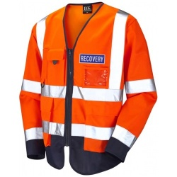 Hi Vis Recovery Workwear Class 3 Superior Sleeved Waistcoat Orange And Navy With Reflective Recovery Badge