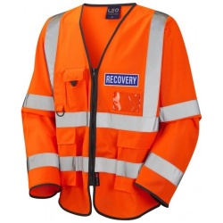 Leo Workwear S12-O Wrafton Hi Vis Recovery Workwear Class 3 Superior Sleeved Waistcoat Orange With Reflective Recovery Badges