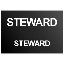 Steward Text Badge White (Front & Back)