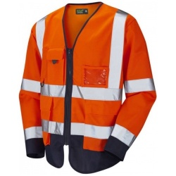 Urban54 Hi Vis Class 3 Superior Sleeved Waistcoat Orange / Navy