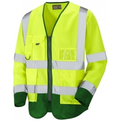 Urban54 Hi Vis Class 3 Superior Sleeved Waistcoat Yellow / Emerald Green