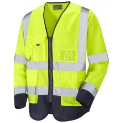 Urban54 Hi Vis Class 3 Superior Sleeved Waistcoat Yellow / Navy