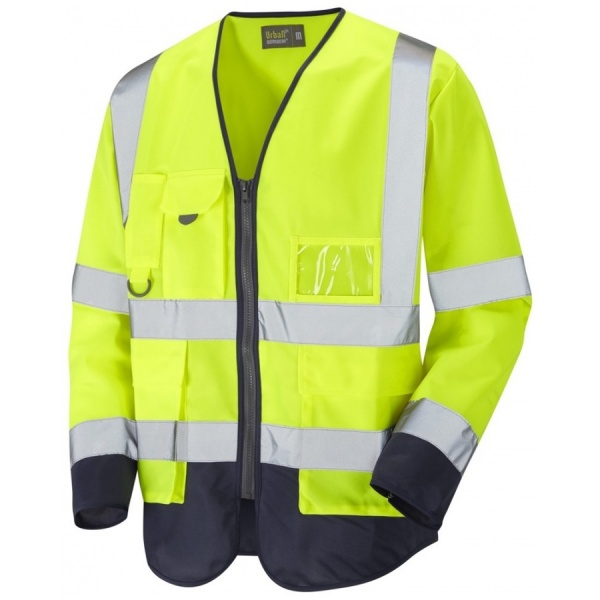 Urban54 Hi Vis Class 3 Superior Sleeved Vest Yellow / Navy
