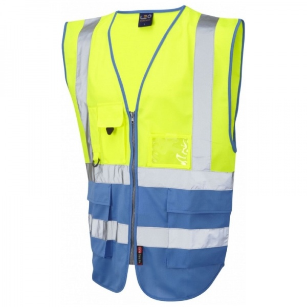 Leo Workwear W11-Y/DS Lynton Hi Vis Superior Vest Yellow / Deep Sky Blue
